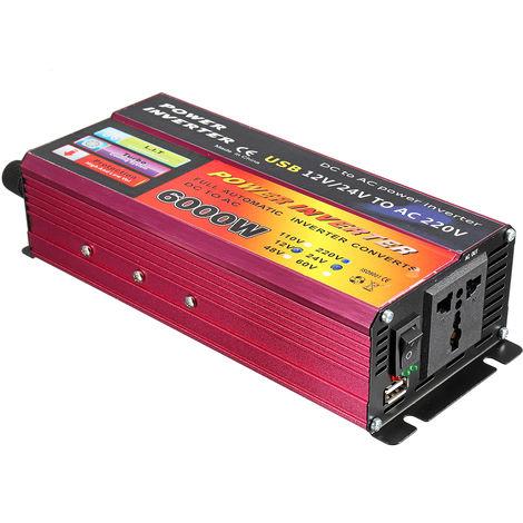 Onduleur 6000W DC 12V à ca 220V Portable voiture onduleur chargeur convertisseur adaptateur modifié onde sinusoïdale Auto-adaptatif