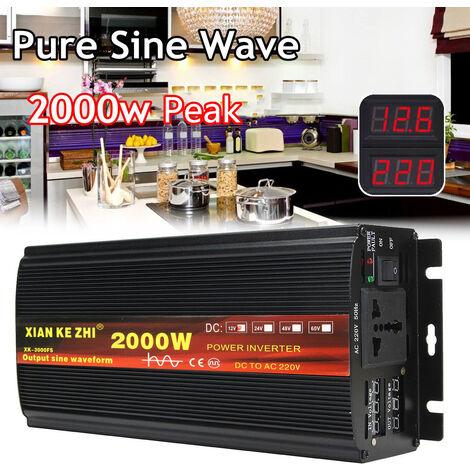 Onduleur de puissance à onde sinuso?dale pure 2000W Convertisseur 24V en AC 220V + LCD (24V 2000W)