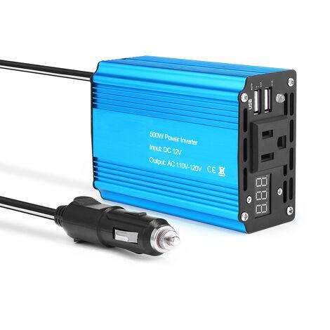 """main image of """"Onduleur solaire de voiture onduleur 500W DC 12V a AC 110V convertisseur a onde sinusoidale modifiee avec double USB avec LED"""""""