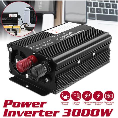 Onduleur solaire LED 3000W 12v / 24V DC à 220V AC convertisseur à onde sinusoïdale (noir, 3000W 12V-220V)