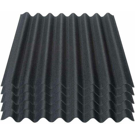Onduline Easyline Dachplatte Wandplatte Bitumenwellplatten Wellplatte 5x0,76m² - schwarz