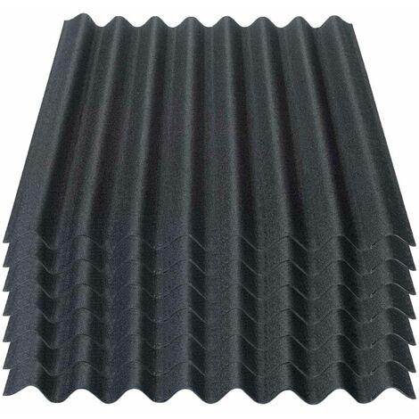 Onduline Easyline Dachplatte Wandplatte Bitumenwellplatten Wellplatte 7x0,76m² - schwarz