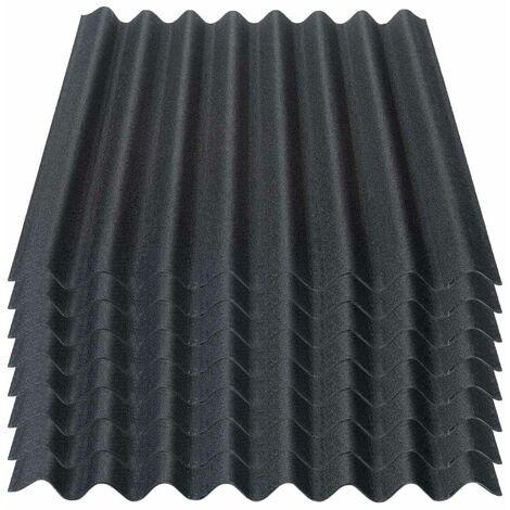 Onduline Easyline Dachplatte Wandplatte Bitumenwellplatten Wellplatte 8x0,76m² - schwarz