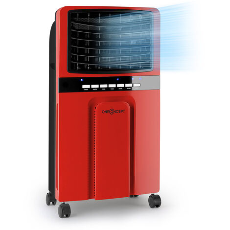 oneConcept Baltic Red 3-en-1 Enfriador de aire Ventilador 65 W 360 m³/h mando a distancia