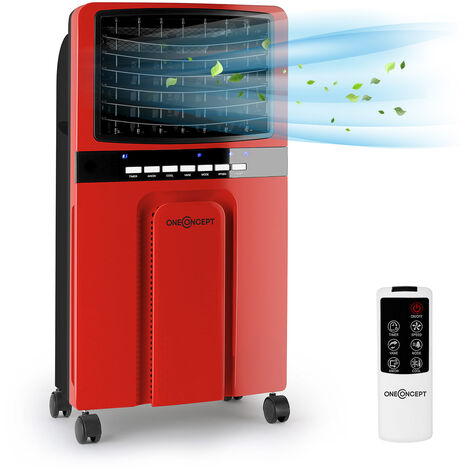 oneConcept Baltic Red Ventilateur Rafraichisseur d'air 65W 400m³/h -rouge