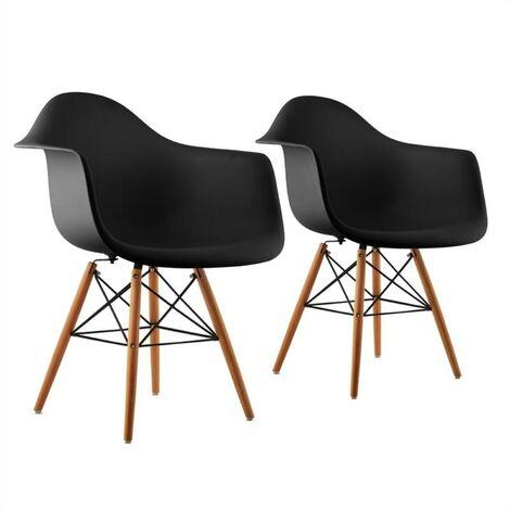 oneconcept Bellagio Set de 2 chaises de salon design style rétro – noir