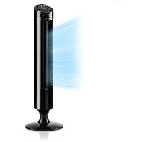 oneConcept Blitzeis ventilateur colonne sur pied 40 W oscillation à 45° - noir