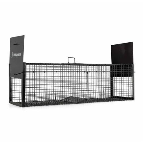 oneConcept Catch & Carry L Trampa para roedores 31x31x104cm vivas Acero de 2mm negro