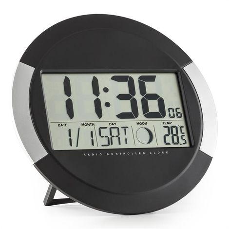 oneConcept Clockwork radio digital reloj de pared termómetro calendario fases lunares pies de apoyo