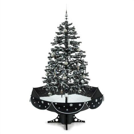 oneConcept Everwhite Sapin de Noël Simulation chute de neige 180cm LED noir