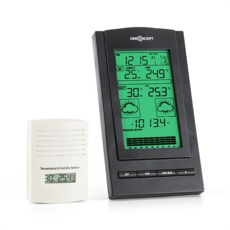 oneConcept Isfjorden Wireless Weather Statioin Alarm Battery-operated 1 x Outdoor Sensor