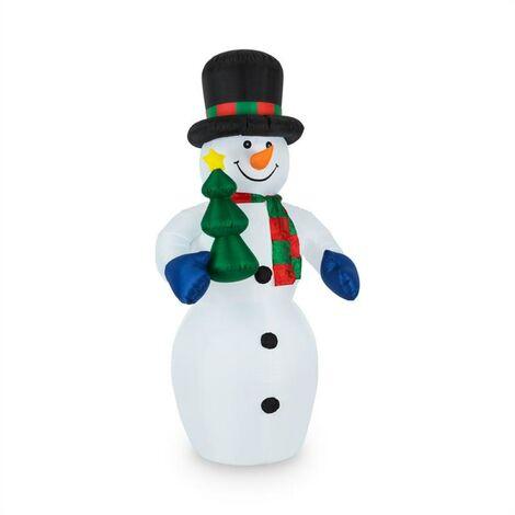 oneConcept Mr. Frost Pupazzo di Neve Gonfiabile 240cm Ventilatore LED