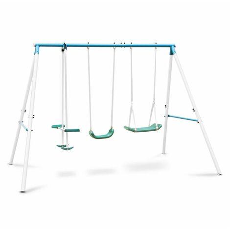 oneConcept Olav Double balançoire de jardin enfant vis à vis -bleue