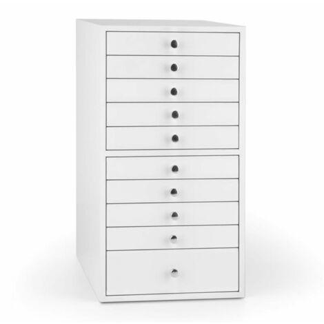 oneConcept Pompadour Armoire à bijoux écrin 10 tiroirs 21,5x40,5x29cm -blanc