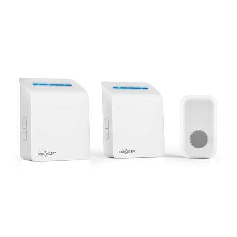 oneConcept Portaton 330 Wireless Doorbell 3-Piece Battery Receiver White