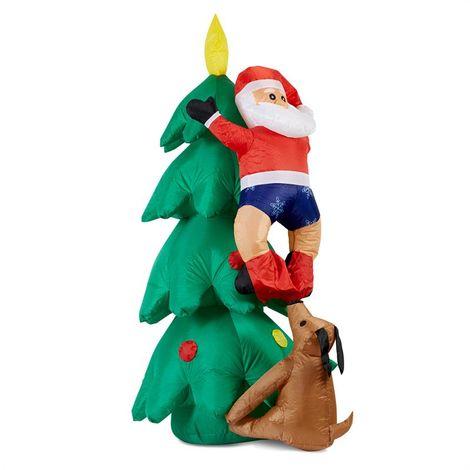 oneConcept Santa on Tree muñeco hinchable de Santa Claus 150 cm hinchador 6 LED