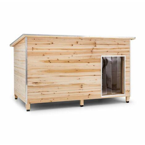 oneConcept Schloss Wuff Hundehütte Größe XL 110x160x100cm isoliert Windfang Holz