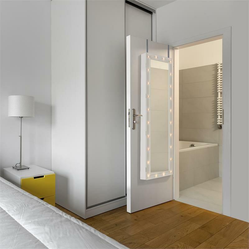 Oneconcept Smilla /• Joyero /• Estuche con Espejo inclinable /• Mueble Giratorio con Espejo /• Espejo Cuerpo Entero /• Iluminacion 24 LED /• Cerradura /• 47 x 147 x 37 cm /• 18 kg /• Blanco