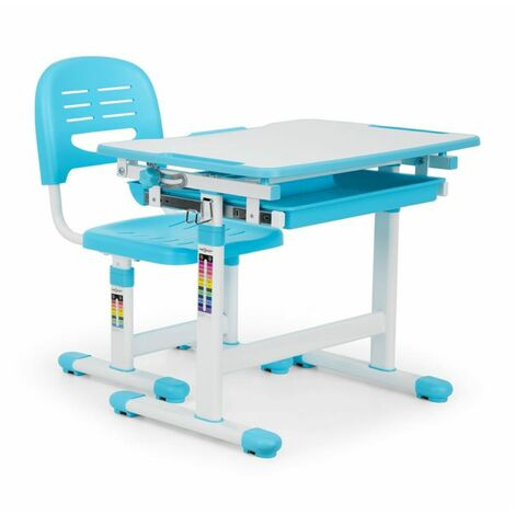 oneConcept Tommi Juego de 2 uds Escritorio infantil Mesa Silla de altura regulable azul