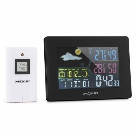 oneConcept Uddevalla Wireless Weather Station Battery-operated Alarm incl. Outdoor sensor