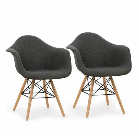 oneConcept Visconti Set 2 chaises design à coque polypropylène - gris
