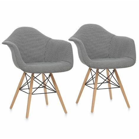 oneConcept Visconti Set de 2 chaises design à coque rembourrée - noir