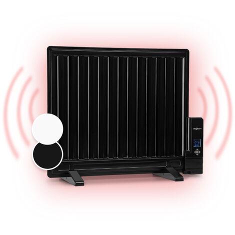oneConcept Wallander Oil Radiator 600W Thermostat Oil Heater Ultra Flat Black