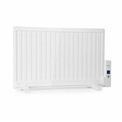 oneConcept Wallander Oil Radiator 800W Thermostat Oil Heater Ultra Flat White
