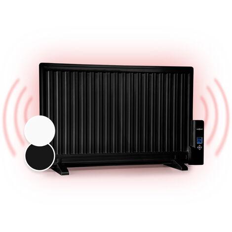 oneConcept Wallander Radiador de aceite 800W Termostato Calefacción de aceite Ultraplano Negro