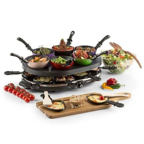 oneConcept Woklette Grill Raclette Set Wok antiadhésif 1200 W 8 personnes