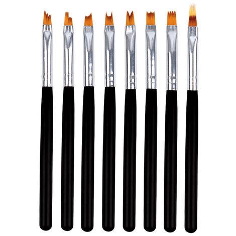 """main image of """"Ongles Decoratifs Brosse Peinture Polonaise Pen Dessin Brosse Pour Ongles Nail Art 8Pcs Outil Bois Pen Brosse En Nylon Cheveux"""""""