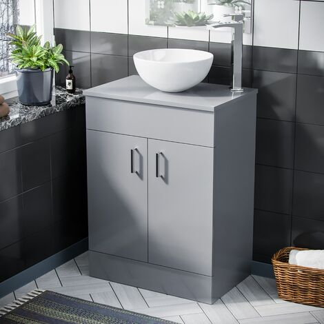 Onken 500mm Light Grey Vanity Cabinet And Round Bowl Counter Top Basin Sink Unit