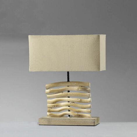 ONLI - Lampada da tavolo stile Nature con paralume in tessuto e struttura in legno