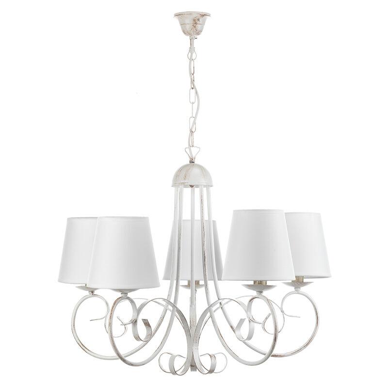 Lampadario Pompei 5 luci in metallo bianco invecchiato. Stile classico ed elegante. Con paralumi - Onli