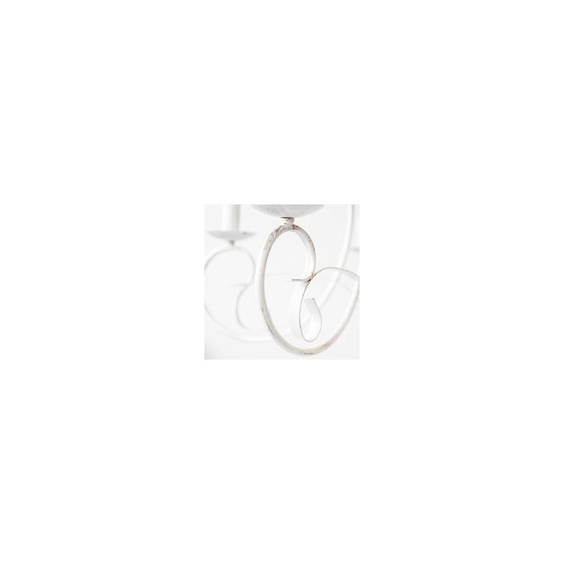 ONLI Lampadario Pompei 5 luci in metallo bianco invecchiato. Stile classico ed elegante.