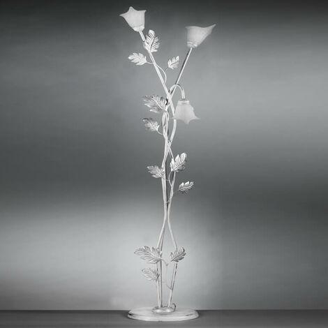 ONLI - Piantana Marilena 3 luci in metallo bianco spennellato argento lavorato a mano in Italia. Paralumi in vetro bianco. 50cm x h 180cm