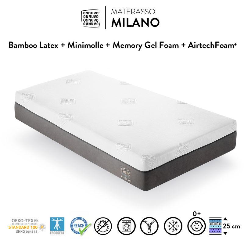 OnNuvo Materasso Singolo Certificato, 25 cm, New Gel Memory Foam Alta Densita' 60-65 kg/m3, Lattice Bamboo Naturale 70-75 kg/m3, Molle INDIPENDENTI,