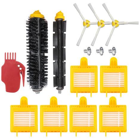 Onze ensembles d'accessoires pour balayeuse Irobot (brosse laterale (avec vis) * 3 + brosse principale + peigne plat + filtre * 6) Applicable aux modeles de la serie 700, portable