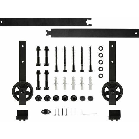 OOBEST® 200CM Quincaillerie Kit de Rail pour Porte Coulissante, Ensemble Industriel Hardware Kit pour Porte Suspendue en Bois Système de Porte avec Roulettes et Rail(Grandes Roues)