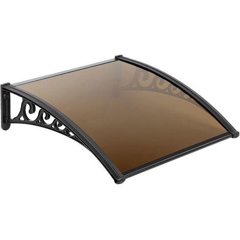 OOBEST® Auvent de porte 80*120cm entrée marquise porte marquise d'accueil terrasse toit marron - marron