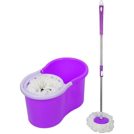 OOBEST® Balai serpillière microfibre avec seau essoreur violet - violet
