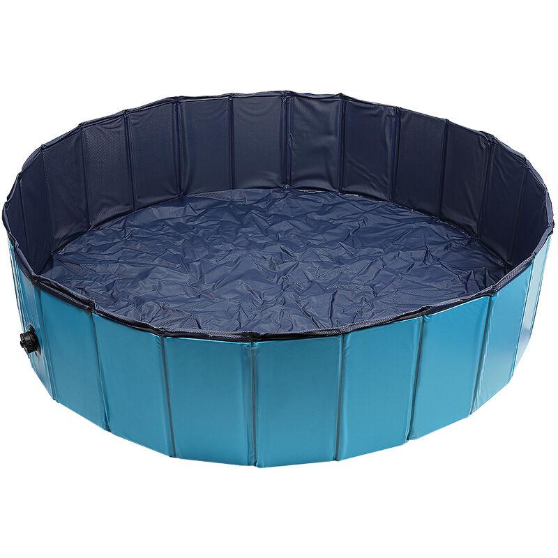 OOBEST® bañera para perros, piscina para perros piscina infantil para niños y perros, bañera para perros plegable 160x30 cm azul