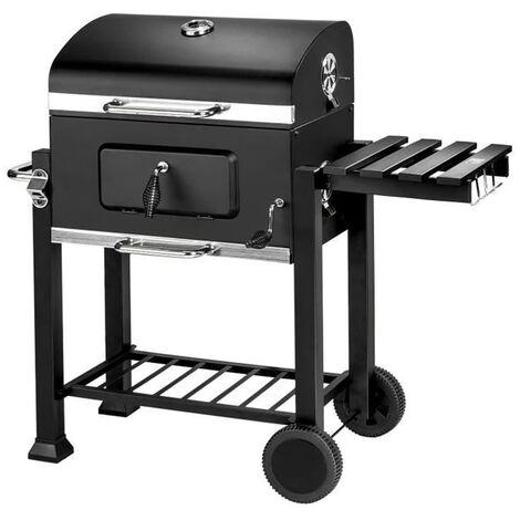OOBEST® Barbecue Charbon de Bois à 2 Roues 2 Grilles et 1 Thermomètre en Métal Noir