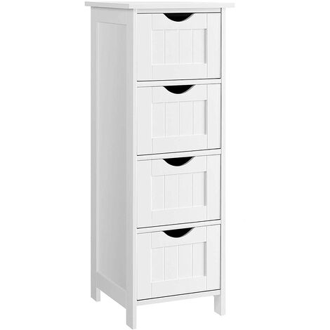 OOBEST® Bathroom Storage Cupboard Storage Cabinet Standing Wooden with 4 drawers 30 x 30 x 82cm White