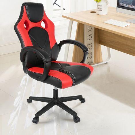 """main image of """"OOBEST® Chaise de Bureau Confortable Fauteuil de Bureau Hauteur Réglable 42-48 cm Siège PU Accoudoirs Réglables"""""""