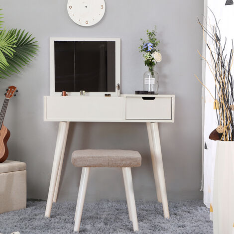 OOBEST® Dressing Table Contemporary Makeup Table Large Capacity Folding Mirror with Storage Box Upholstered Stool White Color