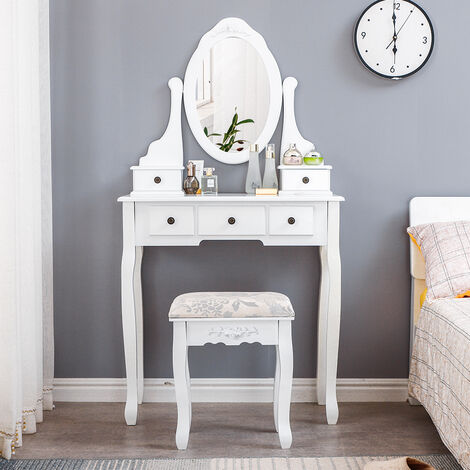 OOBEST® Dressing Table Makeup Table 75x138x40CM with Oval Mirror 1 Stool with Pine Legs and 5 Drawers White