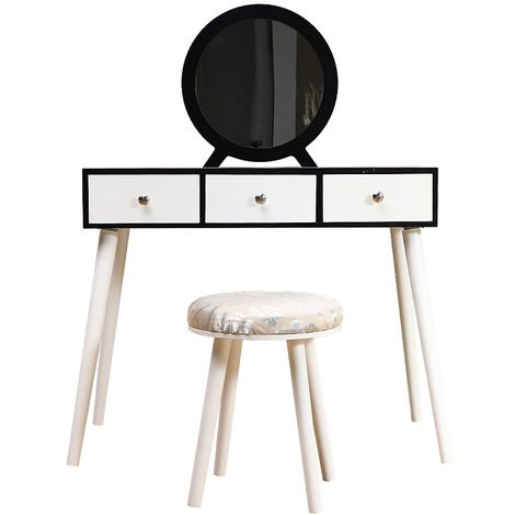 OOBEST® Dressing table + stool - 1 mirror - 3 drawers - 128x90x40cm