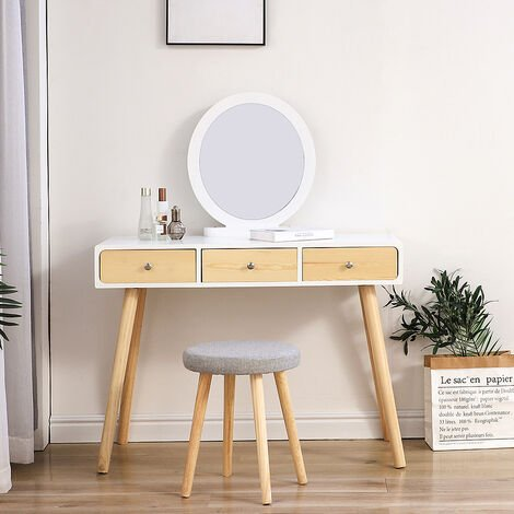 OOBEST® Dressing table with stool - 3 drawers with slides - Removable mirror - Stool with washable cover - 100 x 40 x 125 cm (L x W x H)