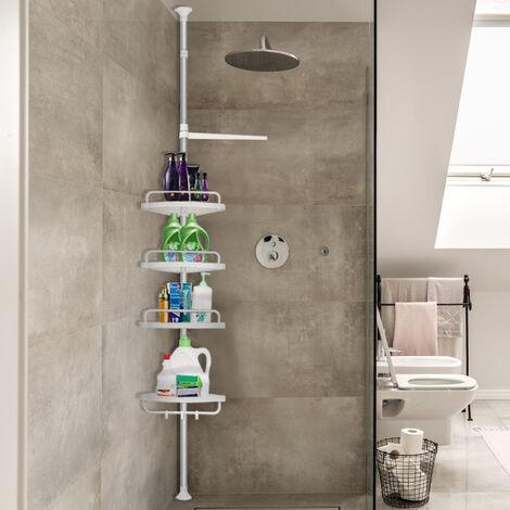 OOBEST® Étagère télescopique d'angle de douche - Hauteur réglable 120 - 304 cm - Avec porte-serviette - Savon bain douche